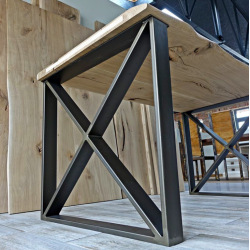 Stahlfuß für Esstisch Typ X11 glatt